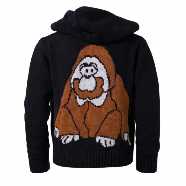 Knitted Hoodie With Orangutan