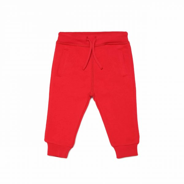 Red Joggers With White Logo