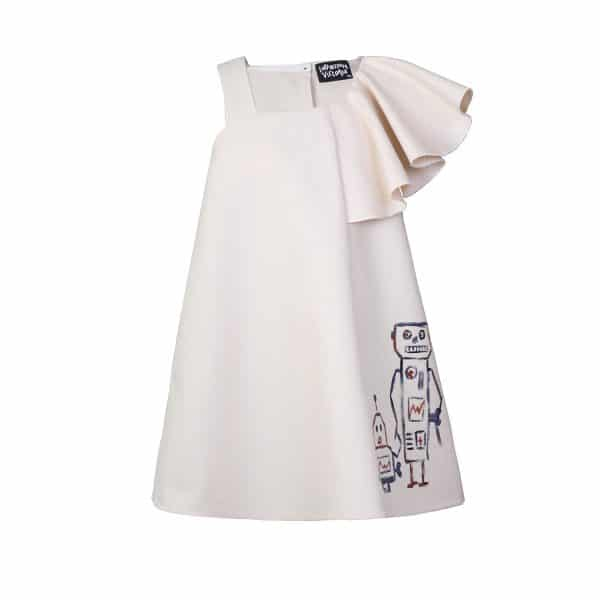 Cream Dress With Hand Drawing Print