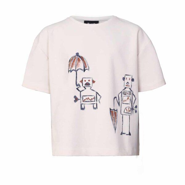 Cotton T-shirt With Robot Print