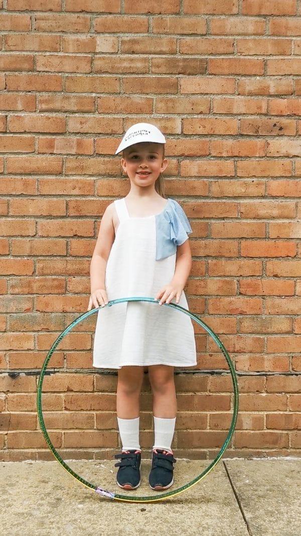 White Dress With Blue Shoulder Detail