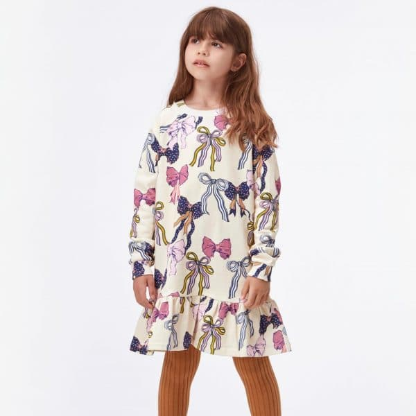 Sweatshirt Dress With Bows Print