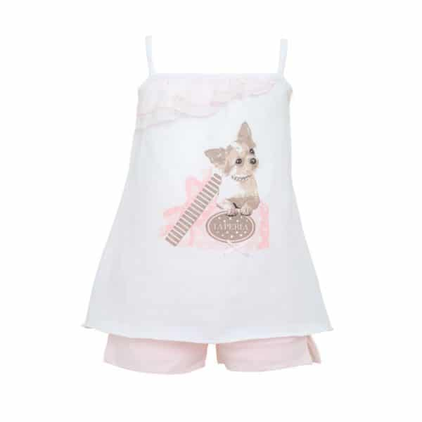 Pyjama with Puppy Print and Pink Shorts