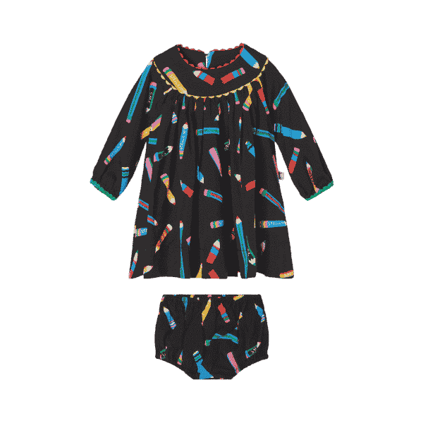 Baby Twill Dress With Pencils Print