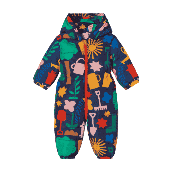 All in One Baby Puffer With Gardening Print