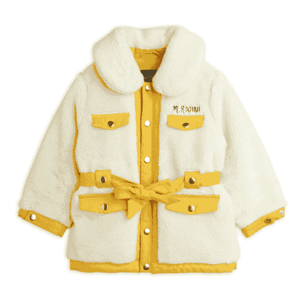 Cream Faux Fur Jacket With Yellow Trimming